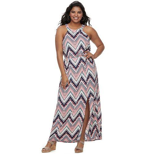 Juniors\' Plus Size Three Pink Hearts High Neck Maxi Dress