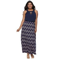 Juniors' Plus Size Three Pink Hearts Strappy High Neck Maxi Dress