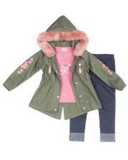 "Girls 4-6x Little Lass ""Awesome"" Graphic Tee, Faux-Fur Twill Jacket & Cuffed Jeggings Set"