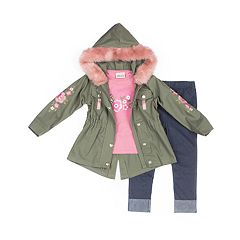 Girls 4-6x Little Lass 'Awesome' Graphic Tee, Faux-Fur Twill Jacket & Cuffed Jeggings Set