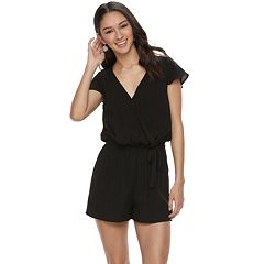 Juniors' Joe B Lace Wrap Romper