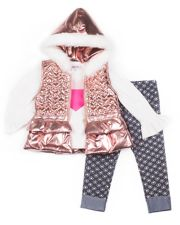 Girls 4-6x Little Lass Heart Tee, Quilted Metallic Vest & Jeggings Set