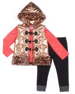 Girls 4-6x Little Lass Metallic Cheetah Vest, Foiled Dot Tee & Jeggings Set
