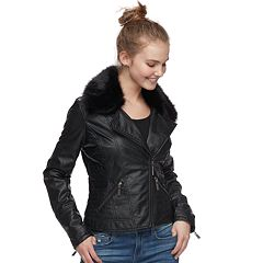 Juniors' J-2 Faux-Fur & Faux-Leather Moto Jacket