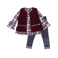 Girls 4-6x Little Lass Plaid Ruffle Henley, Faux-Fur Vest & Jeggings Set