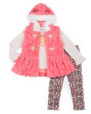 Girls 4-6x Little Lass Faux-Fur Vest, Heart Graphic Tee & Cheetah Leggings Set