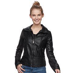 Juniors' J-2 Faux-Leather Jacket