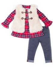 Girls 4-6x Little Lass Plaid Sequin Henley, Faux-Fur Vest & Jeggings Set
