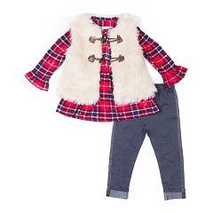 Girls 4-6x Little Lass Plaid Sequin Henley, Faux-Fur Vest & Jeggings Set