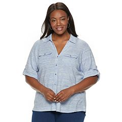 Plus Size Cathy Daniels Button Front Top