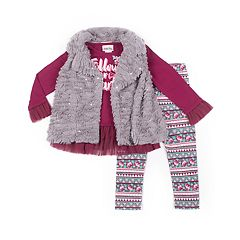 Girls 4-6x Little Lass Faux-Fur Vest, Peplum Top and Floral Leggings Set
