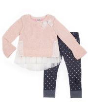Girls 4-6x Little Lass Tulle Sweater & Foiled Heart Jeggings Set