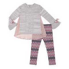 Girls 4-6x Little Lass Sheer-Back Sweater & Print Leggings Set