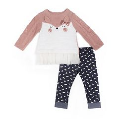 Girls 4-6x Little Lass Animal Sweater & Foiled Bow Jeggings Set