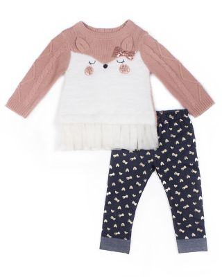 Girls 4-6x Little Lass Animal Sweater & Foiled Bow Jeggings Set