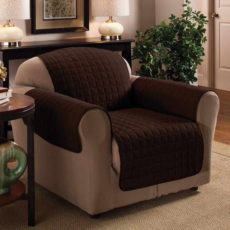 Innovative Textile Solutions Microfiber Furniture Chair Slipcover, Dark Brown
