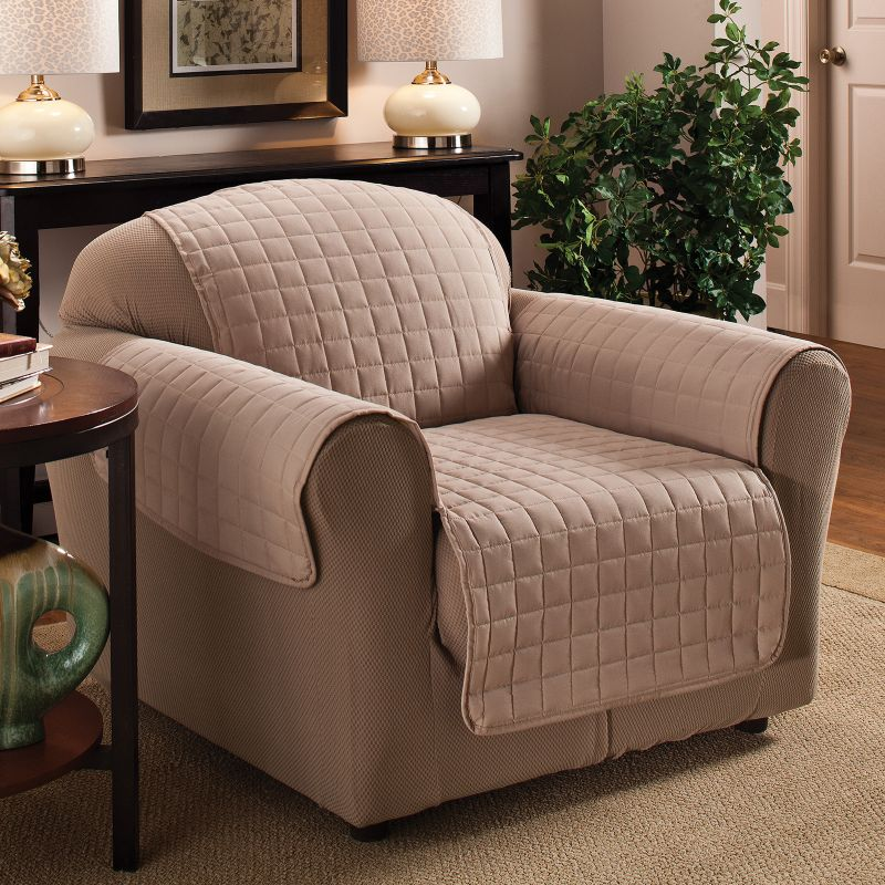 Innovative Textile Solutions Microfiber Furniture Chair Slipcover, Lt Brown