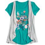 Girls 7-16 & Plus Size Mudd® Graphic Print Tee & Vest Set