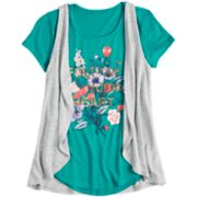 Girls 7-16 & Plus Size Mudd® Graphic Print Tee & Vest Set