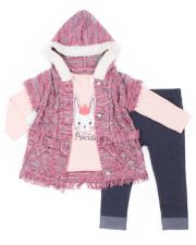"Girls 4-6x Little Lass Cable-Knit Hooded Sweater, ""Little Princess"" Tee & Cuffed Jeggings Set"