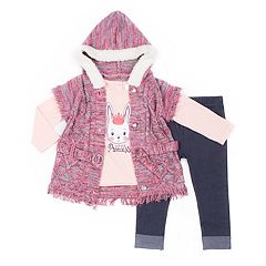 Girls 4-6x Little Lass Cable-Knit Hooded Sweater, 'Little Princess' Tee & Cuffed Jeggings Set
