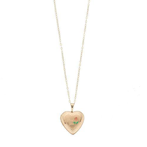 """10k Gold """"I Love You"""" Locket Necklace"""