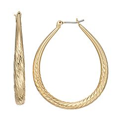 Dana Buchman Textured Teardrop Hoop Earrings