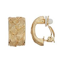 Dana Buchman Gold Plated Braided Texture Clip-on Earrings