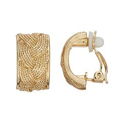 Dana Buchman Braided Texture Clip-on Earrings
