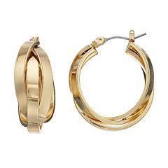 Dana Buchman Interlocked Triple Hoop Earrings