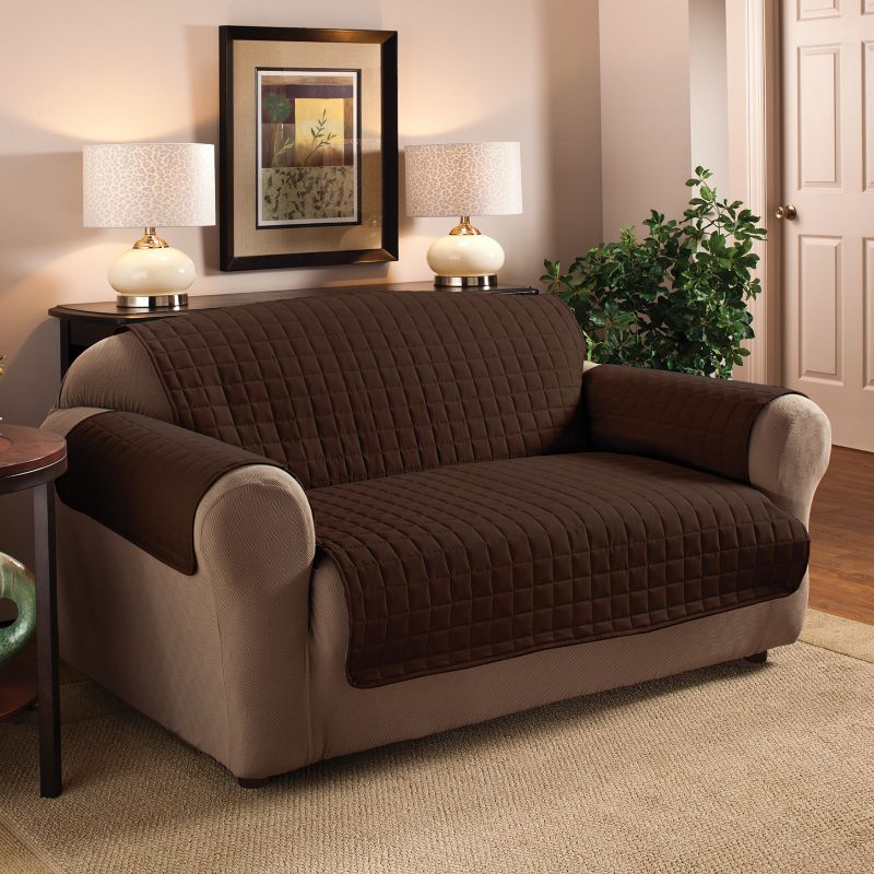 Innovative Textile Solutions Microfiber Furniture Loveseat Slipcover, Dark Brown