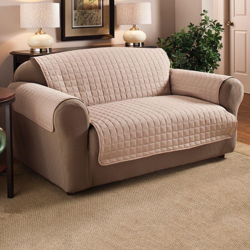 Innovative Textile Solutions Microfiber Furniture Sofa Protector Slipcover, Lt Brown