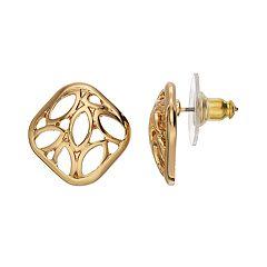 Dana Buchman Openwork Square Stud Earrings