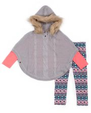 Girls 4-6x Little Lass Hooded Poncho, Tee & Printed Leggings Set
