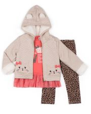 "Girls 4-6x Little Lass ""Love"" Tulle-Hem Tee, Quilted Cat Jacket & Cheetah Leggings Set"