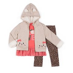Girls 4-6x Little Lass 'Love' Tulle-Hem Tee, Quilted Cat Jacket & Cheetah Leggings Set
