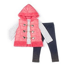 Girls 4-6x Little Lass Puffer Vest, Foiled Dot Tee & Jeggings Set