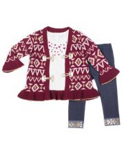 Girls 4-6x Little Lass Tribal Lurex Cardigan, Foiled Hearts Tee & Cuffed Jeggings Set