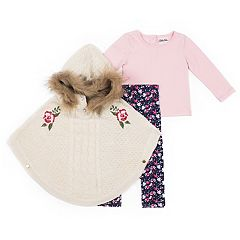 Girls 4-6x Little Lass Embroidered Poncho, Tee & Floral Leggings Set