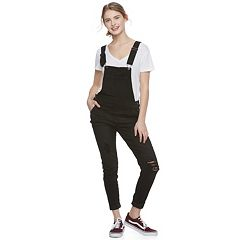 Juniors' Vanilla Star Destructed Roll-Cuff Overalls