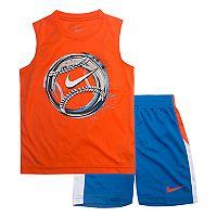 Boys 4-7 Nike Baseball Logo Muscle Tee & Shorts Set