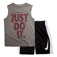 Boys 4-7 Nike Doodle Logo Muscle Tee & Shorts Set