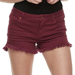 Juniors' Vanilla Star Frayed Midrise Shortie Shorts