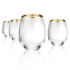 Artland 4-piece Gold Band Stemless Wine Glass