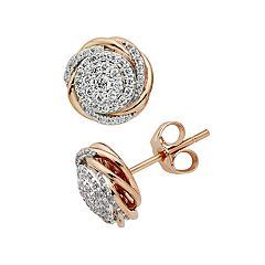 Diamond Splendor 18k Rose Gold Over Silver Crystal Floral Stud Earrings