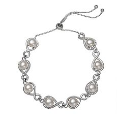 Sterling Silver Freshwater Cultured Pearl Infinity Link Bolo Bracelet