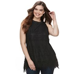 Juniors' Plus Size HeartSoul Embroidered Mesh Tank