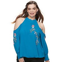 Juniors' Plus Size HeartSoul Embroidered Cold Shoulder Top