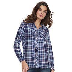 Women's SONOMA Goods for Life™ High-Low Plaid Shirt