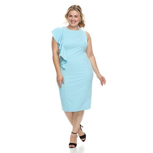 Plus Size Suite 7  Ruffle Sheath Sleeveless Dress